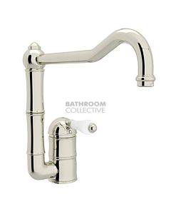 Nicolazzi - 3407 Kitchen Sink Mixer with Off-set Traditional Swivel Spout in Polished Nickel with Petite Mont Blanc Handles