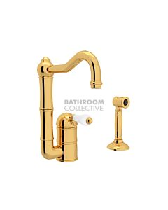 Nicolazzi - 3407WS Kitchen Sink Mixer with Off-set Traditional Swivel Spout & Handspray in Gold with Petite Mont Blanc Handles