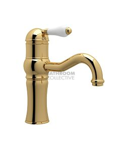 Nicolazzi - 3471 Basin Mixer Tap with Traditional Spout in Gold with Petite Mont Blanc Handle