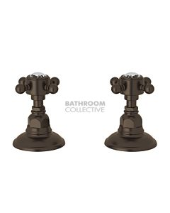 Nicolazzi - 1412 Wall / Deck Mounted Taps Pair in Tuscan Brass with Crystal Half Dome Handles