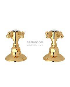 Nicolazzi - 1412 Wall / Deck Mounted Taps Pair in Gold with Crystal Half Dome Handles