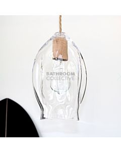 Soktas - Volt Extra Large Hand Blown Pendant Light, Clear Glass, Wood Fitting