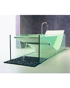 Omvivo - Le Cob Solid Surface White & Chiaro Clear Glass Bath with Waterfall 2200mm