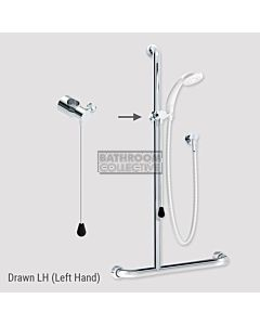 Conserv - Kit 20 Independent/Hosefab 700x1100mm Left Hand Grab Rail Shower System CHROME/WHITE