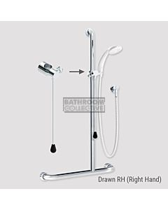 Conserv - Kit 20 Independent/Hosefab 700x1100mm Right Hand Grab Rail Shower System CHROME/WHITE