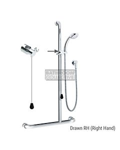 Conserv - Kit 20 Independent/Hosefab 700x1100mm (2m hose) Right Hand Grab Rail Shower System CHROME