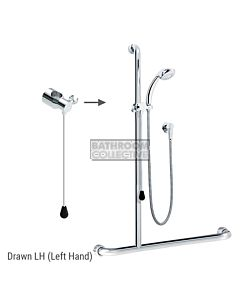 Conserv - Kit 21 Independent/Hosefab 1170x1100mm Left Hand Grab Rail Shower System CHROME