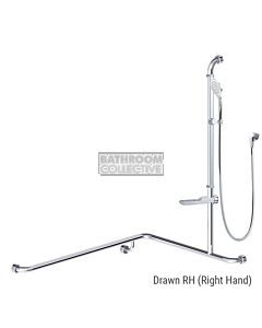 Conserv - Streamjet/Premium 760x1000x1100mm Right Hand Grab Rail Shower System POLISHED
