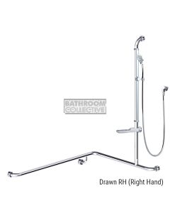 Conserv - Streamjet Turbo/Premium 760x1000x1100mm Right Hand Grab Rail Shower System POLISHED