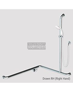 Conserv - Kit 5 Commercial 760x1000x1100mm (2m hose) Right Hand Grab Rail Shower System SATIN/WHITE