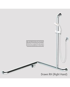 Conserv - Kit 13 Commercial 760x1000x1100mm Right Hand Grab Rail Shower System (2m hose) WHITE SATIN