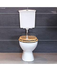 RAK - Georgian Link Low Level Toilet with Oak Seat (Bottom Inlet S Trap 140 - 190mm)