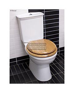 RAK - Kingston Closed Coupled Toilet Oak Seat  (Bottom Inlet S Trap 110 - 190mm)