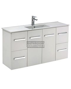 Fienza - Delgado Wall Hung Skinny Depth Vanity, Ceramic Top, Gloss White 1200mm 1 Tap Hole