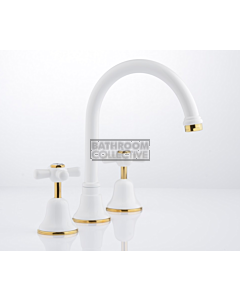 Faucet Strommen - Cascade Sink Set Cross, Vanitee, Ceramic Disc WHITE + GOLD 30191-32