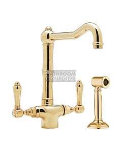 Nicolazzi - 1406WS Kitchen Twinner Tap Sink Mixer with Traditional Swivel Spout & Handspray in Gold Brass with El Capitan Lever Handles