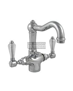 Nicolazzi - 1432T Basin Twiner Tap, Traditional Spout in Chrome with Crystal Lever Handles