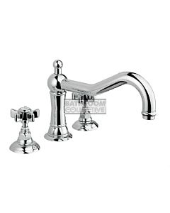 Nicolazzi - 1439 Deck Mounted Bath Tub Mixer Tap in Chrome with Dame Anglaises Handles