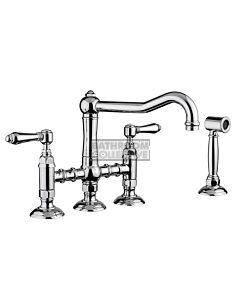 Nicolazzi - 1458WS Exposed Kitchen Tap Sink Mixer with Traditional Swivel Spout & Handspray in Chrome El Capitan Handles