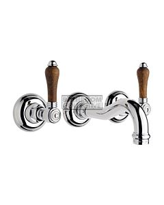 Nicolazzi - 1477 Wall Mounted Basin Tap Set, 185mm Spout in Chrome with Forrest Handles