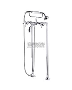 Bastow Tapware - Federation Exposed Freestanding Bath Set Cross Handle CHROME