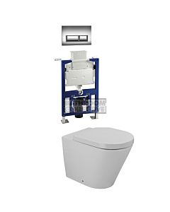 Gallaria - Tropical Toilet Wall Hung Pan Low Level Cistern & QUBO CHROME Button Package (P Trap)