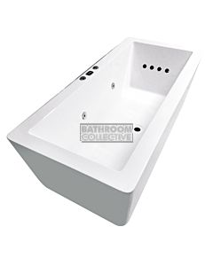 Broadway - Angulo 1500mm Rectangular Freestanding Acrylic Spa, 12 Jets with Remote & Down Light WHITE