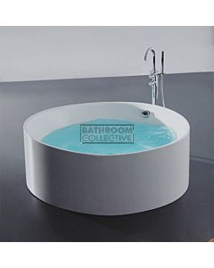 Broadway - Arezzo 1400mm Round Freestanding Acrylic Spa, 12 Jets with Remote & Down Light WHITE