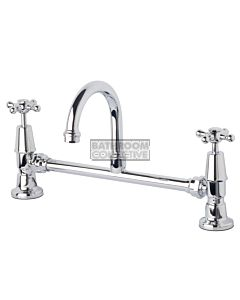 Bastow Tapware - Federation Exposed Basin Set with 115mm Gooseneck Swivel Cross Handle CHROME