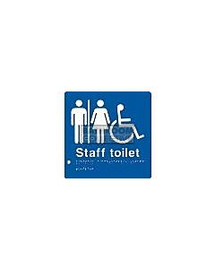 Emroware - Braille Sign Unisex Accessible Staff Toilet 180mm x 180mm