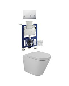Gallaria - Tropical Toilet Wall Hung Pan Low Level Cistern & ENERO CHROME Button Package (P Trap)