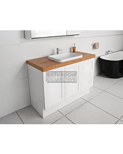 ADP - Madison Hampton Style Freestanding Vanity 1200mm, 60mm Bamboo Top & Solid Surface Basin