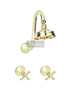 Bastow Tapware - Georgian Fixed Gooseneck Shower Tap Set with Cross Handles BRASS GOLD