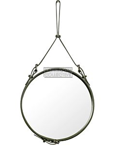 Gubi - Adnet Olive Leather Circular Wall Mirror 45cm
