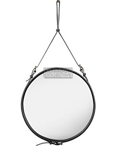 Gubi - Adnet Black Leather Circular Wall Mirror 58cm