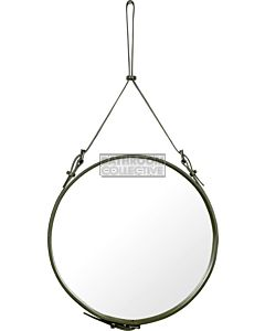 Gubi - Adnet Olive Leather Circular Wall Mirror 58cm