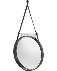 Gubi - Adnet Black Leather Circular Wall Mirror 70cm
