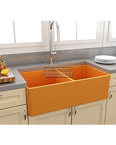 Paco Jaanson - Bocchi Casa Ceramic Kitchen Double Bowl Butler Sink 850mm GLOSS TANGERINE