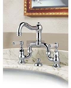 Nicolazzi - 1419 Wash Basin Bridge Tap Set with Traditional Spout and Pop Up Waste in Chrome with Petite Mont Blanc Antique Handles