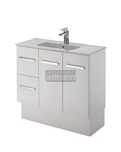 Fienza - Delgado Freestanding Skinny Depth Vanity, Ceramic Top, Left Drawers, Gloss White 900mm 1 Tap Hole