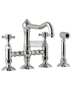 Nicolazzi - 1458WS Exposed Kitchen Tap Sink Mixer with Traditional Swivel Spout & Handspray in Chrome with Half Dome Handles