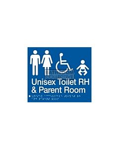 Emroware - Braille Sign Unisex  Accessible Toilet & Parent Room RH 180mm x 210mm