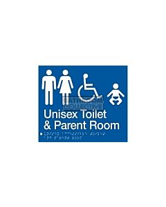 Emroware - Braille Sign Unisex  Accessible Toilet & Parent Room 180mm x 210mm