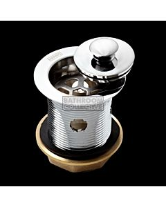 Harbic Brassware - Overflow 40MM Bath & Basin Waste with Anello Stopper 80mm Tail