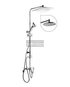 Quoss - Aura Twin Shower + Transformer Mixer, Round Head (standard fittings for breach)
