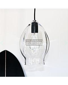Soktas - Volt Large Hand Blown Pendant Light, Clear Glass, Black Fitting