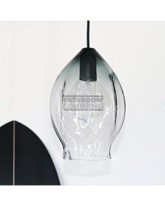 Soktas - Volt Medium Hand Blown Pendant Light, Grey Shade Glass, Black Fitting