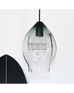 Soktas - Volt Large Hand Blown Pendant Light, Grey Shade Glass, Black Fitting