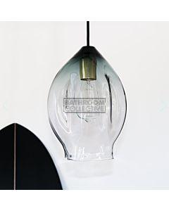 Soktas - Volt Large Hand Blown Pendant Light, Grey Shade Glass, Brass Fitting