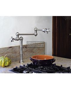 Nicolazzi - 1452 Kitchen Deck Mounted Pot Filler Satin Nickel with Dame Anglaises Handles